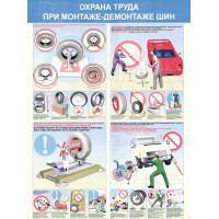 Охрана труда при монтаже-демонтаже шин (Комплект из 4-х плакатов)