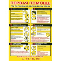 Плакат Первая помощь при прохождении электрического тока