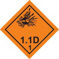 Знак опасности Класс 1. Подкласс 1.1, 1.2, 1.3 Взрывчатые вещества и изделия