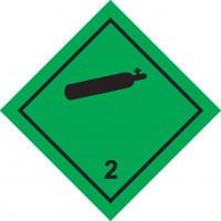 Знак опасности Класс 2. Газы Подкласс 2.2  Невоспламеняющиеся, нетоксичные газы