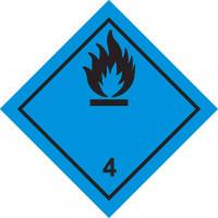 Знак опасности Класс 4. подкласс 4.3  Вещества, выделяющие легковоспламеняющиеся газы при соприкосновении с водой