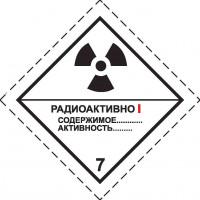 Знак опасности Класс 7. Радиоактивные материалы  Категория I – Белая