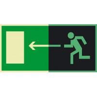 Знак  Е04 Направление к эвакуационному выходу налево фотолюминесцентный