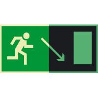 Е07 Направление к эвакуационному выходу направо вниз