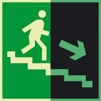 Знак Е13 Направление к эвакуационному выходу по лестнице вниз (правосторонний) фотолюминесцентный
