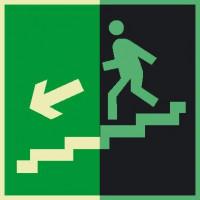 Знак Е14 Направление к эвакуационному выходу по лестнице вниз (левосторонний) фотолюминесцентный