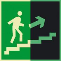 Е15 Направление к эвакуационному выходу по лестнице вверх (правосторонний) фотолюминесцеснтый
