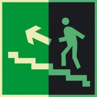 Е16 Направление к эвакуационному выходу по лестнице вверх (левосторонний) фотолюминесцеснтый